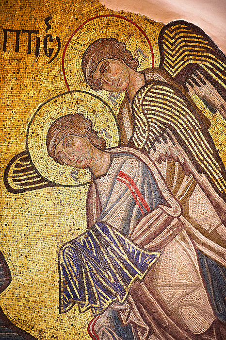 Byzantine mosaics of of angels in Nea Moni built by Constantine IX and Empress Zoe after the miraculous appearance of an Icon of the Virgin Mary at the site and inaugurated in 1049. Scene of a terrible sack and massacre of hundreds of Chiots and priests during the Ottoman sack of Chios in reprisal for the 1821 Greek War of Indipendance. Nea Moni monastery, Chios Island, Greece. A UNESCO World Heritage Site.