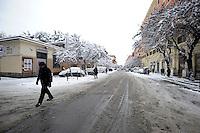 Nevicata a Roma.Snowfall in Rome.Via Tiburtina.