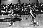 Bethel Park PA:  Scott Streiner breaking the press against the Mt Lebanon Blue Devils at Bethel Park Gymnasium - 1968.  David Connors in background. The JV Team was coached by Mr. Reno and the Bethel Park JVs won the Section Championship.  The team included; Scott Streiner, Steve Zemba, John Klein, Mike Stewart, Bruce Evanovich, Jeff Blosel and Tim Sullivan.