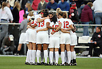 03 December 2010: Ohio State's starters huddle before the game. The Notre Dame Fighting Irish defeated the Ohio State University Buckeyes 1-0 at WakeMed Stadium in Cary, North Carolina in an NCAA Women's College Cup semifinal game.