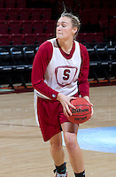 Stanford, CA., March 25, 2013,-- Joslyn Tinkle with the Stanford women's basketball team workout during team practice Monday, March 25, 2013, for there second round NCAA 2013, basketball championship game against Michigan, at Maples Pavilion.  ( Norbert von der Groeben )