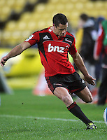 Dan Carter kicks for goal. Super 15 rugby match - Crusaders v Hurricanes at Westpac Stadium, Wellington, New Zealand on Saturday, 18 June 2011. Photo: Dave Lintott / lintottphoto.co.nz