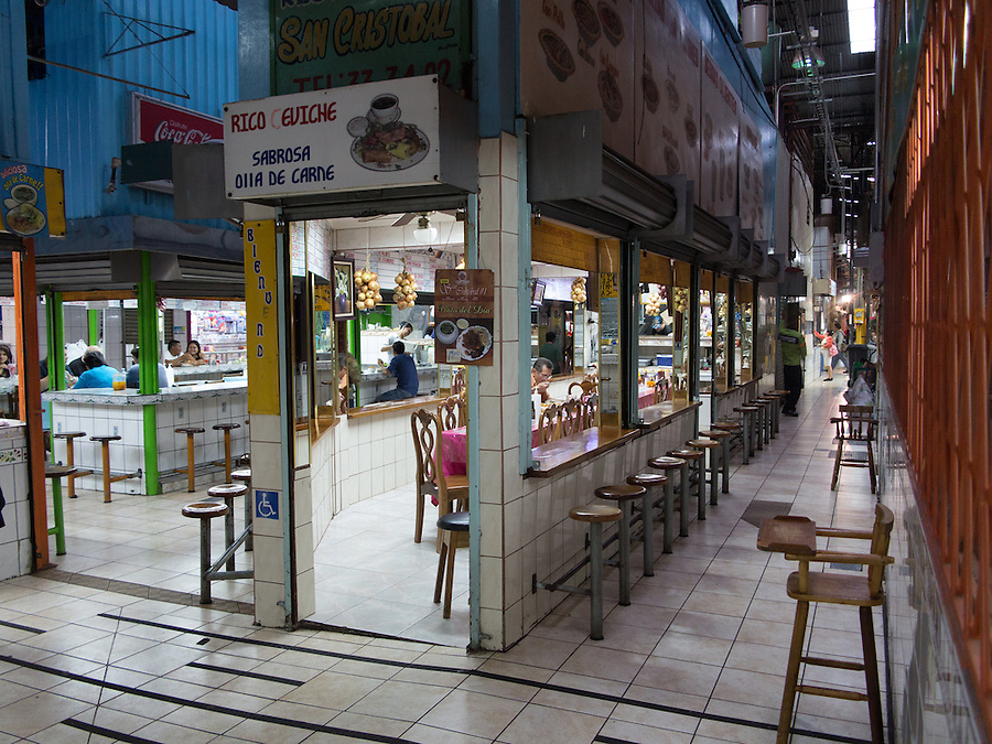 SAN JOSE, COSTA RICA - CIRCA AUGUST 2012: Alley in the Central Market circa 2012 in San Jose, a very popular attraction and the biggest market in the city  with more than 10.000 daily visitors.