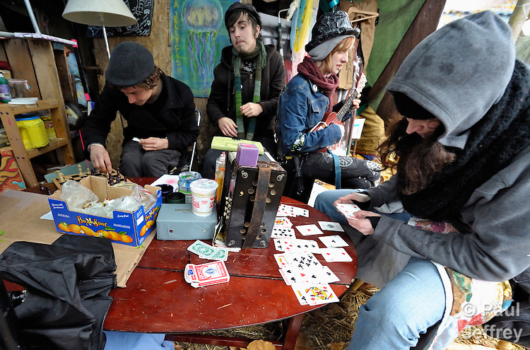 Demonstrators pass the time at an Occupy Seattle camp at Seattle Central Community College in Seattle, Washington.