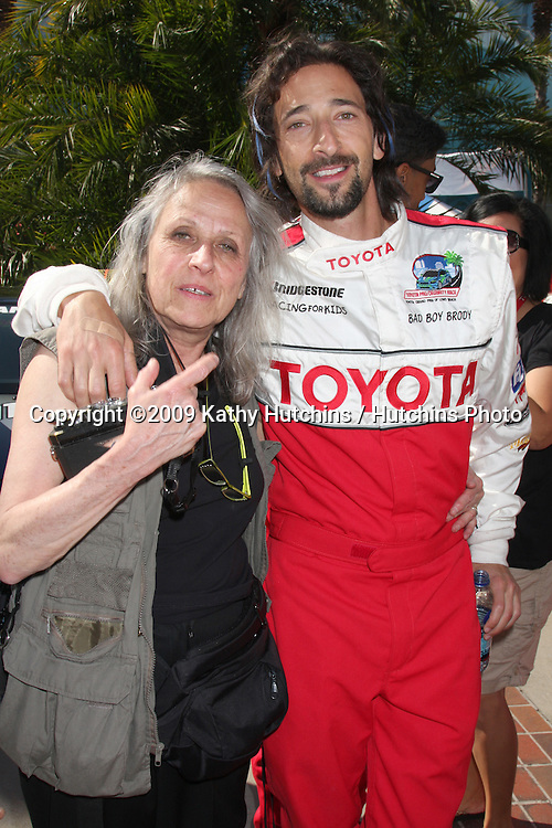 Sylvia Plachy & Son Adrien Brody  at the  Toyota Pro/Celeb Race Day on April 18 ,2009 at the Long Beach Grand Prix course in Long Beach, California..©2009 Kathy Hutchins / Hutchins Photo....                .