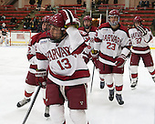 Tyler Moy (Harvard - 2), Greg Gozzo (Harvard - 13), Kevin Guiltinan (Harvard - 6), David Valek (Harvard - 23), Desmond Bergin (Harvard - 37) - The Harvard University Crimson defeated the Princeton University Tigers 3-2 on Friday, January 31, 2014, at the Bright-Landry Hockey Center in Cambridge, Massachusetts.