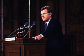"Washington, DC - (FILE) -- United States Senator Edward M. ""Ted"" Kennedy (Democrat of Massachusetts) makes a major policy speech at Georgetown University on January 28, 1980.  Kennedy, a candidate for the 1980 Democratic nomination for President of the United States, blasted the Carter administration and its policies.  He broke with Carter on such issues as the alleged crimes of the Shah of Iran, energy, and national health care..Credit: Benjamin E. ""Gene"" Forte / CNP"