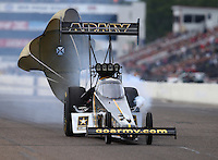 Aug 20, 2016; Brainerd, MN, USA; NHRA top fuel driver Tony Schumacher during qualifying for the Lucas Oil Nationals at Brainerd International Raceway. Mandatory Credit: Mark J. Rebilas-USA TODAY Sports
