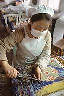 October 1984. In Guan Xian, Si Shuan Province, the famous carpet factory: Du Djian.