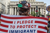 NEW YORK, NY - May 01:  A woman holds a sign during the May Day Strike for workers rights at Foley Square. Labor unions and civil rights groups staged May Day rallies in several U.S. cities on Monday to denounce President Donald Trump's get-tough policy on immigrationIn New York City on May 01, 2017. Photo by VIEWpress/Maite H. Mateo.