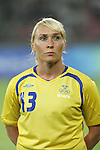 12 August 2008: Frida Ostberg (SWE).  The women's Olympic team of Sweden defeated the women's Olympic soccer team of Canada 2-1 at Beijing Workers' Stadium in Beijing, China in a Group E round-robin match in the Women's Olympic Football competition.