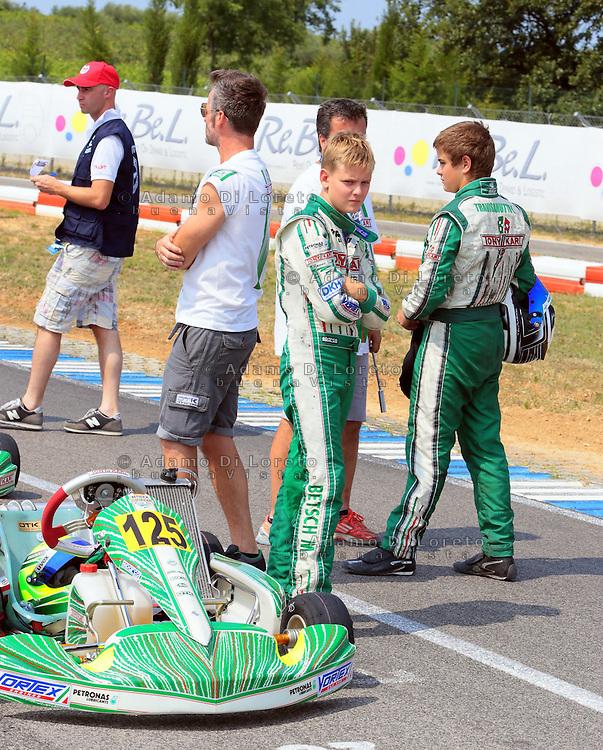 Ortona (CH) 21/07/2013: L'ex pilota e campione di Formula 1 Michael Schumacher presente nei box di Kart del campionato europeo Cik-Fia in cui corre suo figlio Mick Schumacher. Nella foto il figlio Mick Schumacher. Foto Adamo Di Loreto/buenaVista*photo