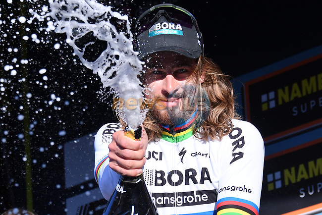 World Champion Peter Sagan (SVK) Bora-Hansgrohe sprays the bubbly after winning Stage 3 of the 2017 Tirreno Adriatico running 204km from Monterotondo Marittimo to Montalto di Castro, Italy. 10th March 2017.<br /> Picture: La Presse/Gian Mattia D'Alberto | Cyclefile<br /> <br /> <br /> All photos usage must carry mandatory copyright credit (&copy; Cyclefile | La Presse)