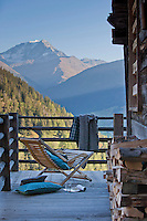 A stunning view of Mont Blanc is enjoyed from a strategically placed deck chair on the terrace of the chalet