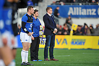 Stuart Hooper of Bath Rugby and Strength and Conditioning Coach Guy Lewis look on during the pre-match warm-up.  Aviva Premiership match, between Saracens and Bath Rugby on January 30, 2016 at Allianz Park in London, England. Photo by: Patrick Khachfe / Onside Images