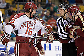 Alex Fallstrom (Harvard - 16), Drew Leblanc, Bill Arnold (BC - 24) - The Boston College Eagles defeated the Harvard University Crimson 4-1 in the opening round of the 2013 Beanpot tournament on Monday, February 4, 2013, at TD Garden in Boston, Massachusetts.