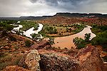 Horseshoe Bend on the Chama River near the village of Abiquiu, New Mexico.