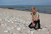 Strandgut sammeln, Naturkunst am Strand, Kinder, Kind, Mädchen sammeln Steine, Muscheln, Schnecken und andere Materialien, um damit zu basteln, Strandkunst, Meer, Küste