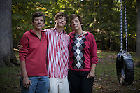 """Genia Smith, her partner Becky Burks and son Christopher Smith-Burks, 14. Together for 32 years. Hillsborough, NC. """"Marriage is a legality, you don't need a preacher to get married."""" Genia says she """"couldn't care less about an actual marriage ceremony,"""" instead she just wants the legal rights that every other couple with a marriage license has."""