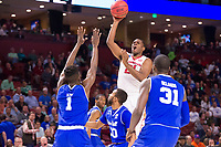 NWA Democrat-Gazette/J.T. WAMPLER Arkansas' Manuale Watkins shoots over Seton Hall's Michael Nzei (1) Angel Delgado (31) and Desi Rodriguez Friday Mar. 17, 2017 during the first round of the NCAA Tournament at the Bon Secours Wellness Arena in Greenville, South Carolina. Arkansas won 77-71 and will advance to the second round, playing Sunday at the same location.