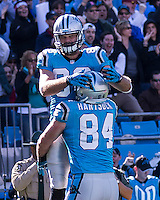The Carolina Panthers defeated the Atlanta Falcons 34-10 in an inter-division rivalry played in Charlotte, NC at Bank of America Stadium.  Carolina Panthers tight end Greg Olsen (88), Carolina Panthers tight end Ben Hartsock (84)