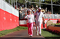 Chie Arimura (JPN), APRIL 3, 2011 - Golf : Chie Arimura of Japan waves to the crowd with her caddie during the final round of the Kraft Nabisco Championship at Mission Hills Country Club in Rancho Mirage, California, USA. (Photo by Yasuhiro JJ Tanabe/AFLO)