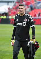 Toronto, Ontario - May 3, 2014: Toronto FC goalkeeper Julio Cesar #30 during the warm-up in a game between the New England Revolution and Toronto FC at BMO Field.<br /> The New England Revolution won 2-1.