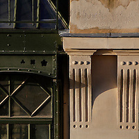 Plant History Glasshouse (formerly Australian Glasshouse), 1830s, Rohault de Fleury, Jardin des Plantes, Museum National d'Histoire Naturelle, Paris, France. Detail showing stone pillasters adjoining glass and iron stuctural elements.