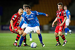 St Johnstone v St Mirren...20.09.11   Scottish Communities League Cup Third Round.Frazer Wright is closed down by Jim Goodwin.Picture by Graeme Hart..Copyright Perthshire Picture Agency.Tel: 01738 623350  Mobile: 07990 594431