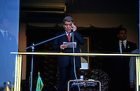Ashgabat, Turkmenistan, October 1997..Saparmurat Niyazov addresses crowds at Independence Day celebrations..Poverty-stricken, but rich in oil and gas resources, this Central Asian former Soviet republic is ruled by the autocratic President Saparmurat Niyazov, or Turkmenbashi as he has renamed himself...............