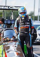 Sep 16, 2016; Concord, NC, USA; NHRA top fuel driver Clay Millican during qualifying for the Carolina Nationals at zMax Dragway. Mandatory Credit: Mark J. Rebilas-USA TODAY Sports