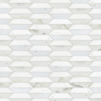 Fairfax 1, a natural stone mosaic shown in Thassos and honed Calacatta Tia, is part of the Silk Road Collection by Sara Baldwin for New Ravenna Mosaics. <br />