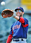 8 March 2012: Boston Red Sox infielder Dustin Pedroia warms up prior to a Spring Training game against the St. Louis Cardinals at Roger Dean Stadium in Jupiter, Florida. The Cardinals defeated the Red Sox 9-3 in Grapefruit League action. Mandatory Credit: Ed Wolfstein Photo