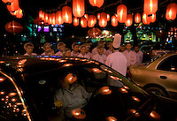 Restaurants on the Dongzhimenwai Dajie in central Beijing..