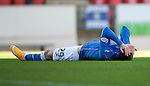 St Johnstone v St Mirren....04.10.14   SPFL<br /> Michael O'Halloran hides his face in shame after blasting over<br /> Picture by Graeme Hart.<br /> Copyright Perthshire Picture Agency<br /> Tel: 01738 623350  Mobile: 07990 594431