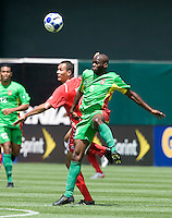 05 July 2009:  Blas Perez of Panama battles for the ball in the air against Eddie Viator of Guadeloupe during the game at Oakland-Alameda County Coliseum in Oakland, California.   Guadeloupe defeated Panama, 2-0.