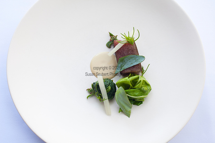 albacore, oyster, spinach and chard