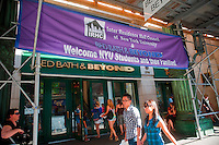 Bed Bath and Beyond in New York welcomes New York University students to their store to shop to furnish their dorm rooms on Saturday, August 28, 202010. NYU provides buses and assistance to the students as they are sheparded back and forth from the store to the various dorms. (©Richard B. levine)