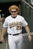 OAKLAND, CA - JUNE 15: Bobby Kielty  of the Oakland Athletics  during the game against the New York Mets at McAfee Coliseum on June 15, 2005 in Oakland, California. The A's defeated the Mets 3-2. (Photo by Michael Zagaris /MLB Photos via Getty Images)