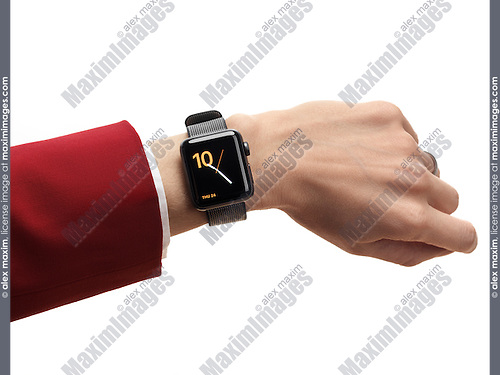 Woman hand with Apple Watch series 2 smartwatch on her wrist isolated on white background