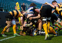 Dan Frost of Bath United touches down for a try in the corner. Aviva A-League match, between Bath United and Wasps A on December 28, 2016 at the Recreation Ground in Bath, England. Photo by: Patrick Khachfe / Onside Images