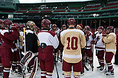 Jerry York (BC - Head Coach) addressed the team. - The Boston College Eagles practiced at Fenway on Friday, January 6, 2017, in Boston, Massachusetts.