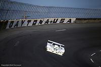 The Group 44 Jaguar on the banking during the 1983 24 Hours of Daytona IMSA race at Daytona International Speedway, Daytona Beach, Florida.