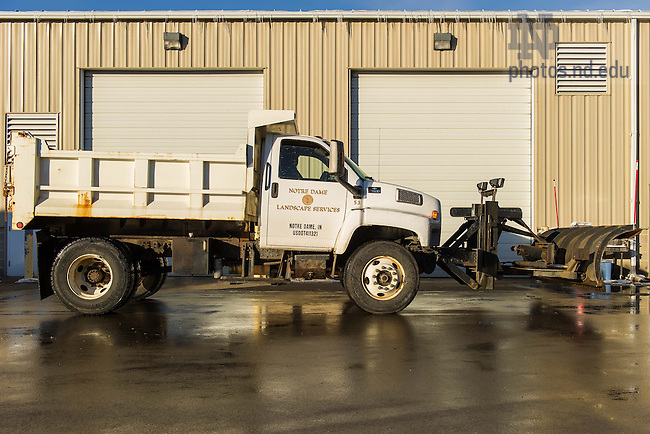 Dec. 18, 2013; Landscape Services snow removal equipment.<br /> <br /> Photo by Matt Cashore/University of Notre Dame