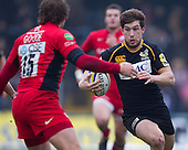 Dominic Waldouck of London Wasps RFC in action - London Wasps RFC vs Saracens RFC - Aviva Premiership Rugby at Adams Park, Wycombe Wanderers FC - 12/02/12 - MANDATORY CREDIT: Ray Lawrence/TGSPHOTO - Self billing applies where appropriate - 0845 094 6026 - contact@tgsphoto.co.uk - NO UNPAID USE.