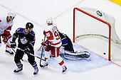 Nicklas Lidstrom (Detroit Red Wings, #5) scores a goal during ice-hockey match between Los Angeles Kings and Detroit Red Wings in NHL league, February 28, 2011 at Staples Center, Los Angeles, USA. (Photo By Matic Klansek Velej / Sportida.com)