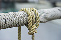 Ropes wrapped around the railing on a fishing boat, Sitka, Alaska, USA