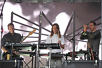 LONDON, ENGLAND - JULY 17: Georg H&oacute;lm, Orri P&aacute;ll D&yacute;rason and J&oacute;n &THORN;&oacute;r Birgisson of 'Sigur R&oacute;s' performing at Citadel, Victoria Park on July 17, 2016 in London, England.<br /> CAP/MAR<br /> &copy;MAR/Capital Pictures /MediaPunch ***NORTH AND SOUTH AMERICAS ONLY***