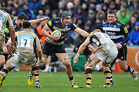 Charlie Ewels of Bath Rugby takes on the Wasps defence. Aviva Premiership match, between Bath Rugby and Wasps on February 20, 2016 at the Recreation Ground in Bath, England. Photo by: Patrick Khachfe / Onside Images
