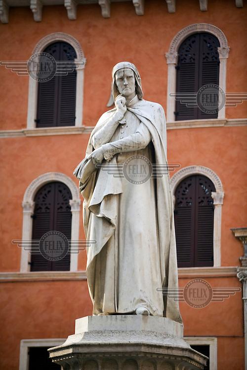 A statue of Dante in the Piazza dei Signori, Verona, Italy...